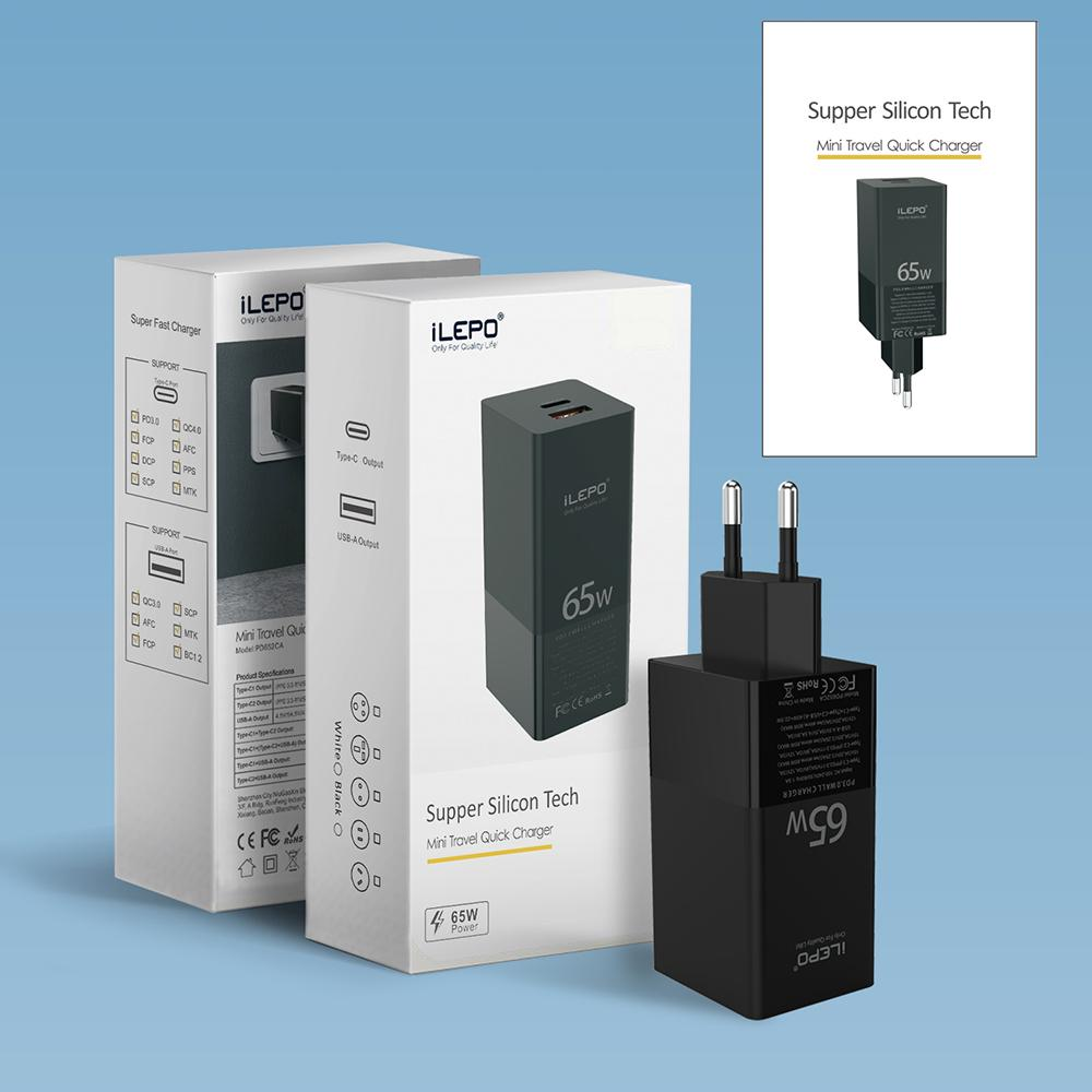 65W Gan PD شاحن سريع شحن منفذ USB C المنافذ المزدوجة مع محول الجدار QC3.0 سريع لأقراص الهواتف الذكية