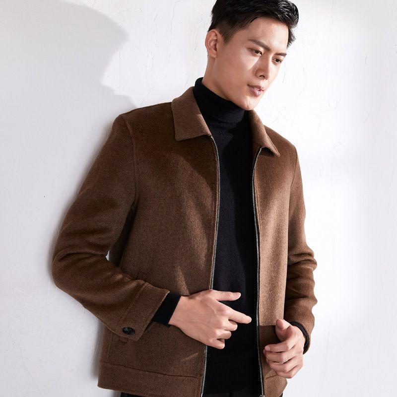 2021 Зима Новый мужской Отворотный Кашемиер Шерсть Шесть Короткий Двухсторонний Куртка