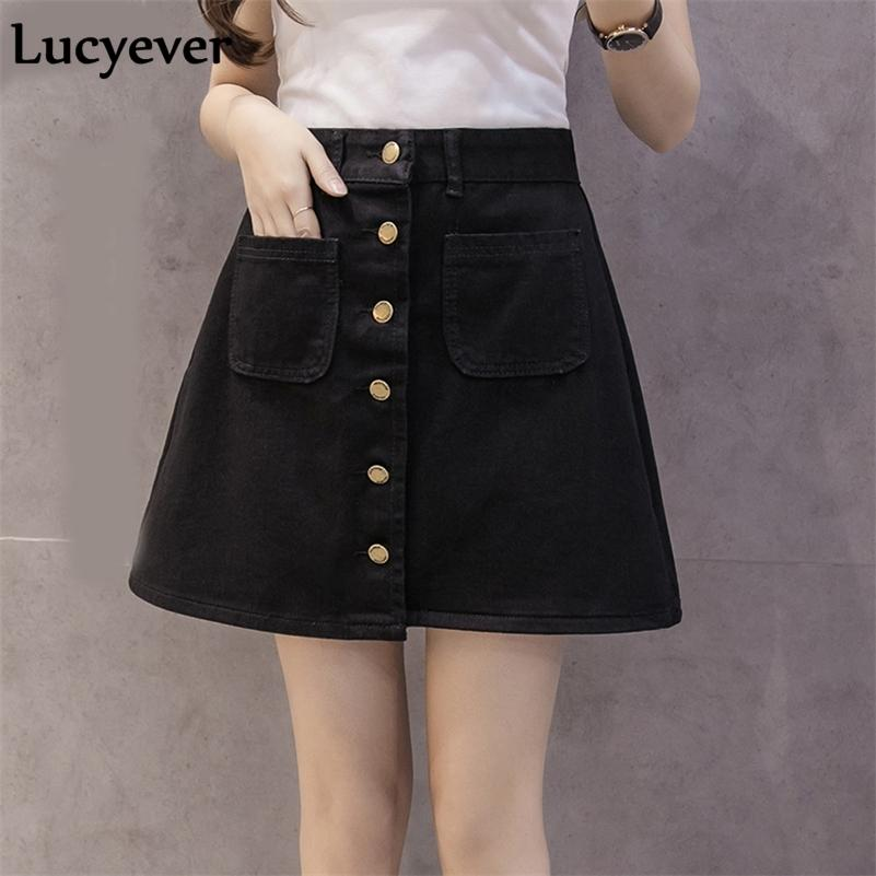 Lucyever Denim Mulheres Mini Saia Verão Vintage Cintura Alta Coreano Botões de Botão Bolsos Blue Jeans A-Line Senhoras Saia Jupe Femme 210315