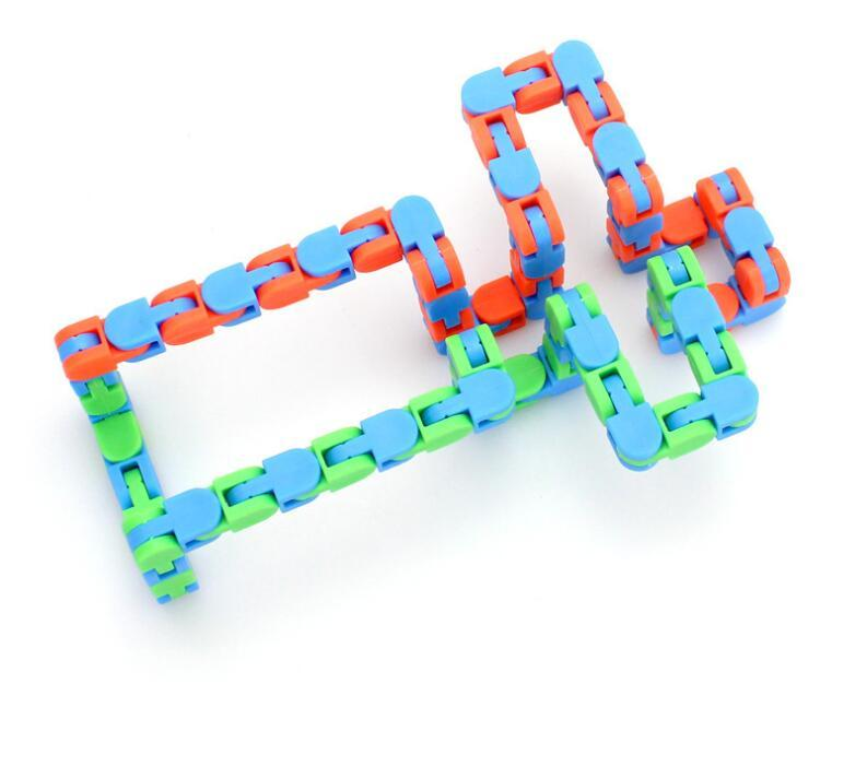 wacky track Fidget Anti Stress Hand Sensory Toys Bicycle Chain Track Decompression Snake Winding Toys Finger for Kids Adults H24K5O5