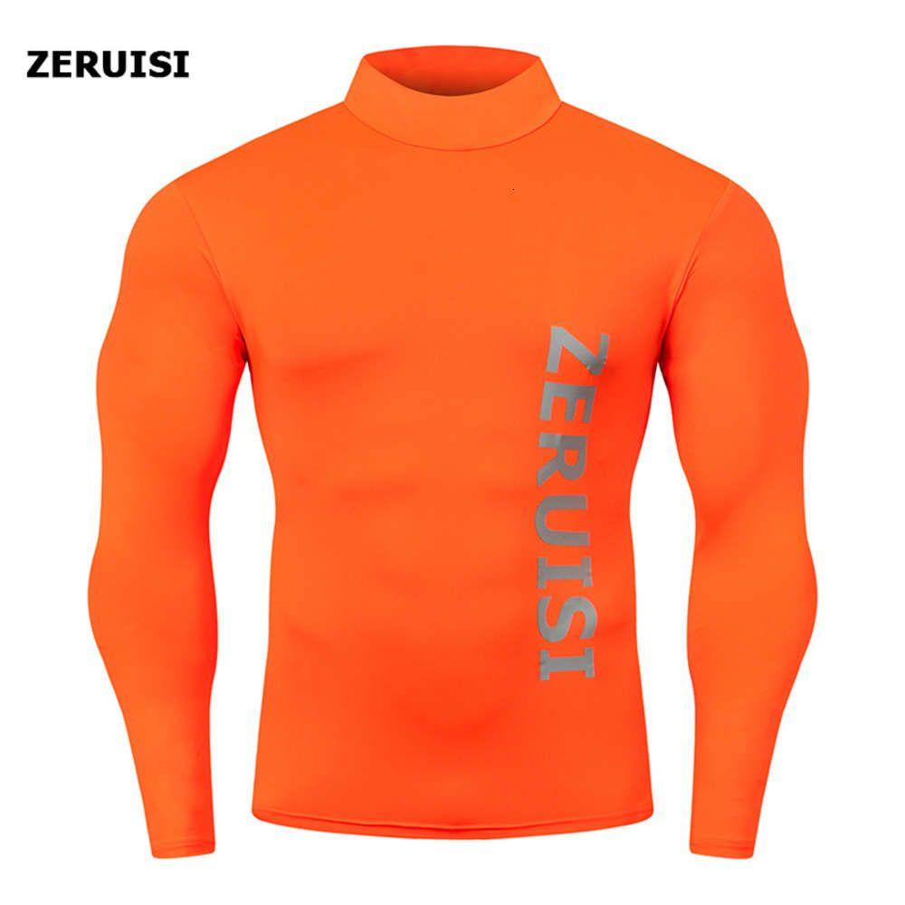 Chemises de compression High Collier Bodybuilding T-shirt T-shirt À Manches longues Top Gyms T-shirt Hommes Fitness Tops Rashgard serré