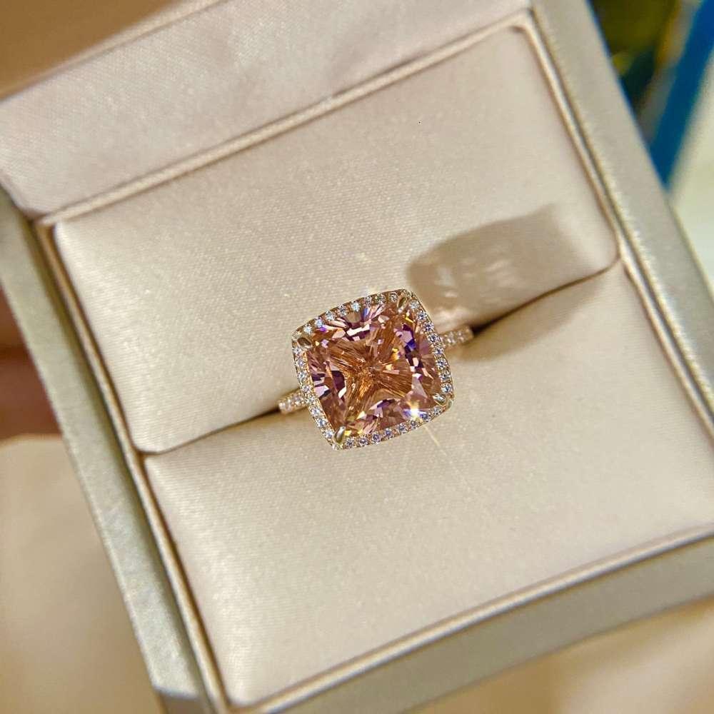 HBP Jóias de Luxo Novo 925 Sterling Silver Alto Carbono Diamante Elempoplasting Rose Gold Square * 10 Moda Feminina Anel