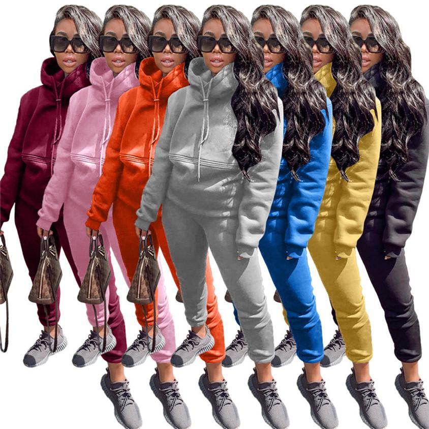 Hoody Tracksuit Donne Sweatsuits Felpe con cappuccio + Leggings Manica lunga Abbigliamento sportivo 7 colori Abiti da due pezzi Abbigliamento invernale Abbigliamento invernale Joggers Suits 3987