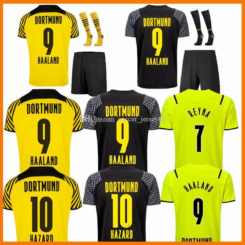 21 22 Haaland Reus Malen Soccer Jerseys Borussia Fan Player Version Home Alow Away 2021 2022 Camisas de fútbol Dortmund Brandt Plszczek Bellingham Hummels Men Kit Kit