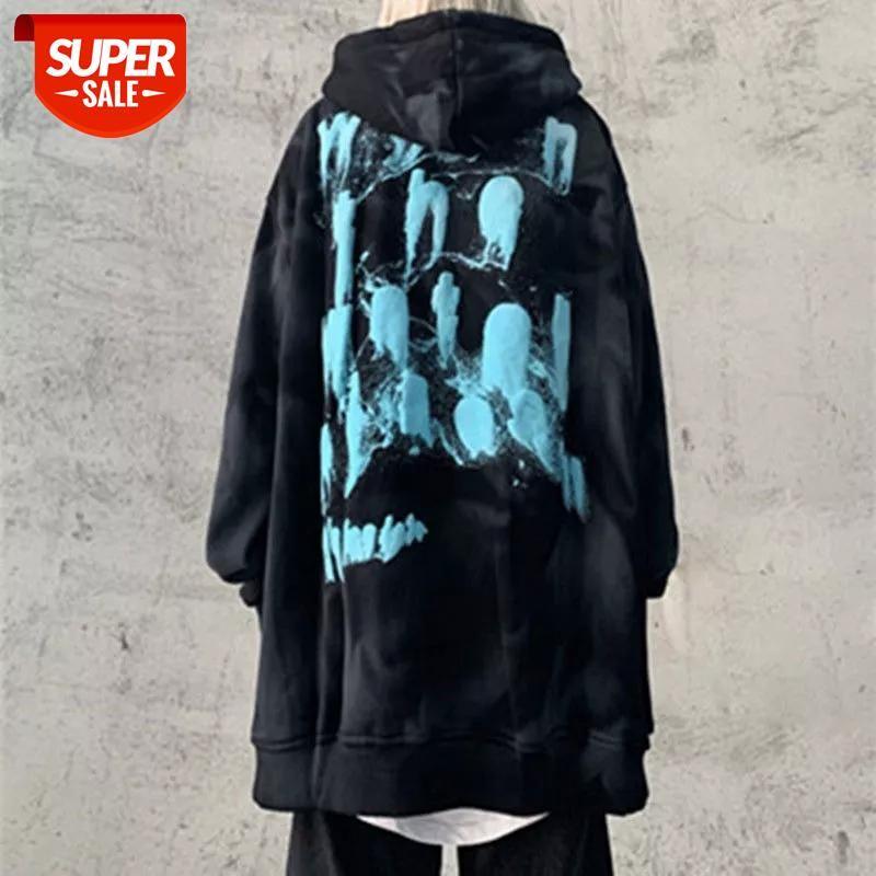 Siyah Boy Hoodie Kadınlar Komik Kore Tops Komik Rahat Gotik Sonbahar Uzun Kollu Rahat Yüksek Street Rock Hoodie Streetwear # Ul50