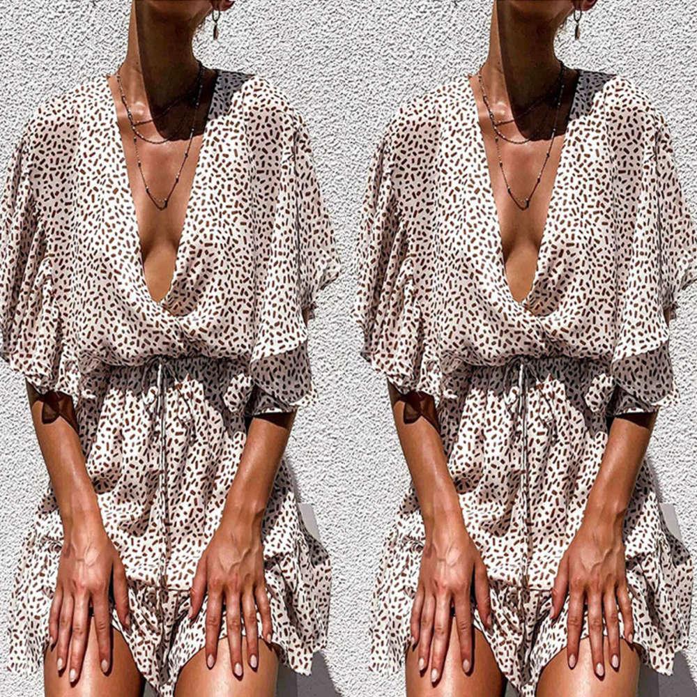2021 Sommer Sexy Tiefes V-Ausschnitt Lose Chiffon Ruffle Beach Rock Kleid