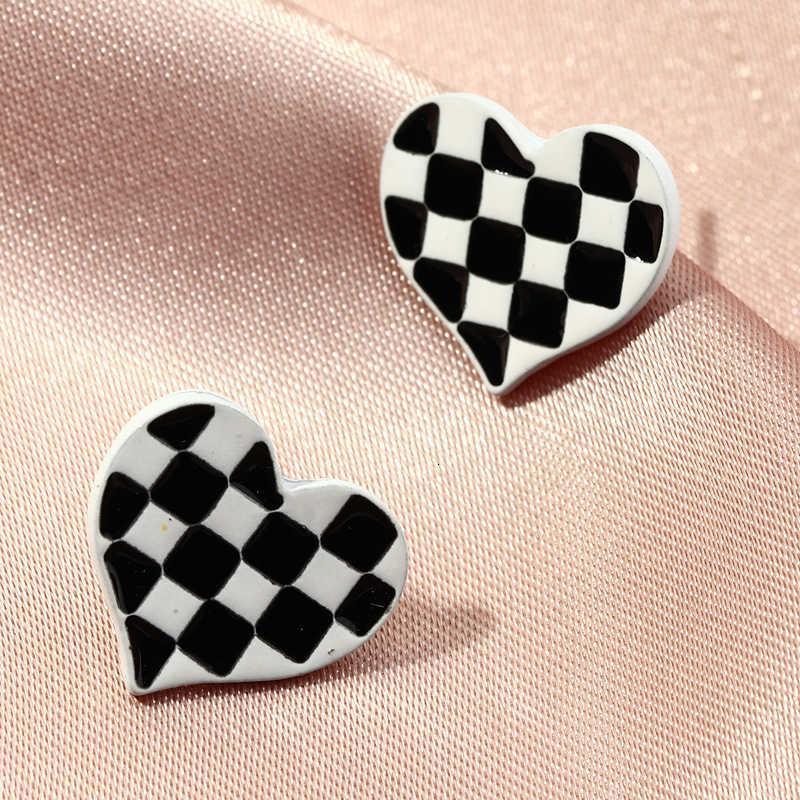 EZ3294 модные аксессуары прекрасный сладкий персик сердца черно-белые серьги
