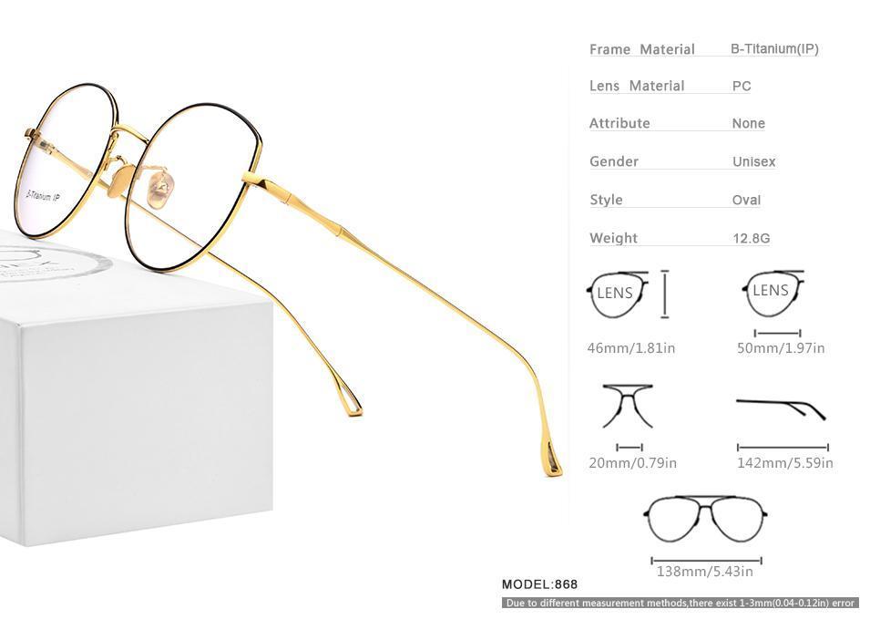 Lunettes de soleil mode Cadres B-Titanium Verres Vintage Unisexe Full RIM Optique Eyewear Ultralight Clear Lens Légilouse Prescription de l'ordinateur Myop