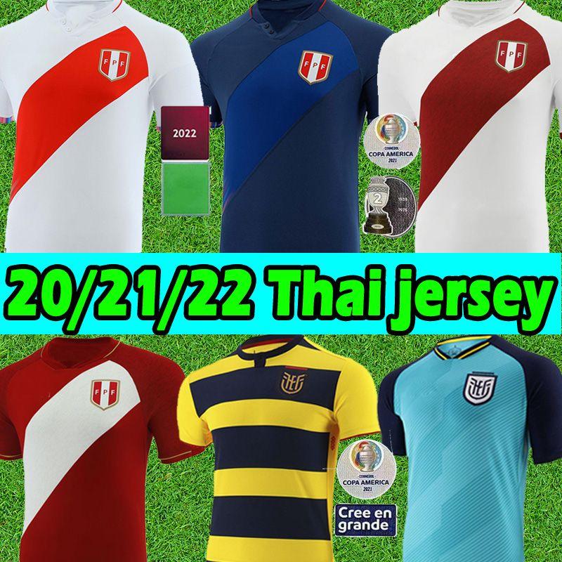 21/22 Perú Futbol Formaları COPA Amerika Camisetas De Fútbol Ekvador Ev Uzaktan Jersey Farfan Cueva Lapadula Lores Peru Erkekler 2021 2022 Futbol Gömlek Üniformaları