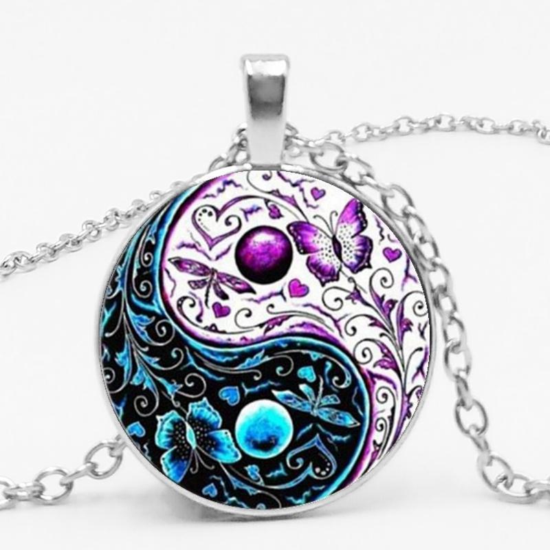 Anhänger Halsketten! 3 Farben Tibet Cabochon Glaskette Halskette Ying Yang Butterfly Geschenke für Männer und Frauen