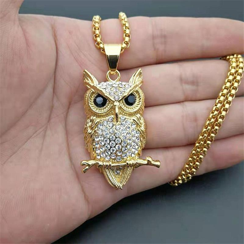 Hip Hop Iced Out Owl Pendant Necklace for Women Gold Color Stainless Steel Animal Bling AAA CZ Necklace Women's Jewelry Gifts