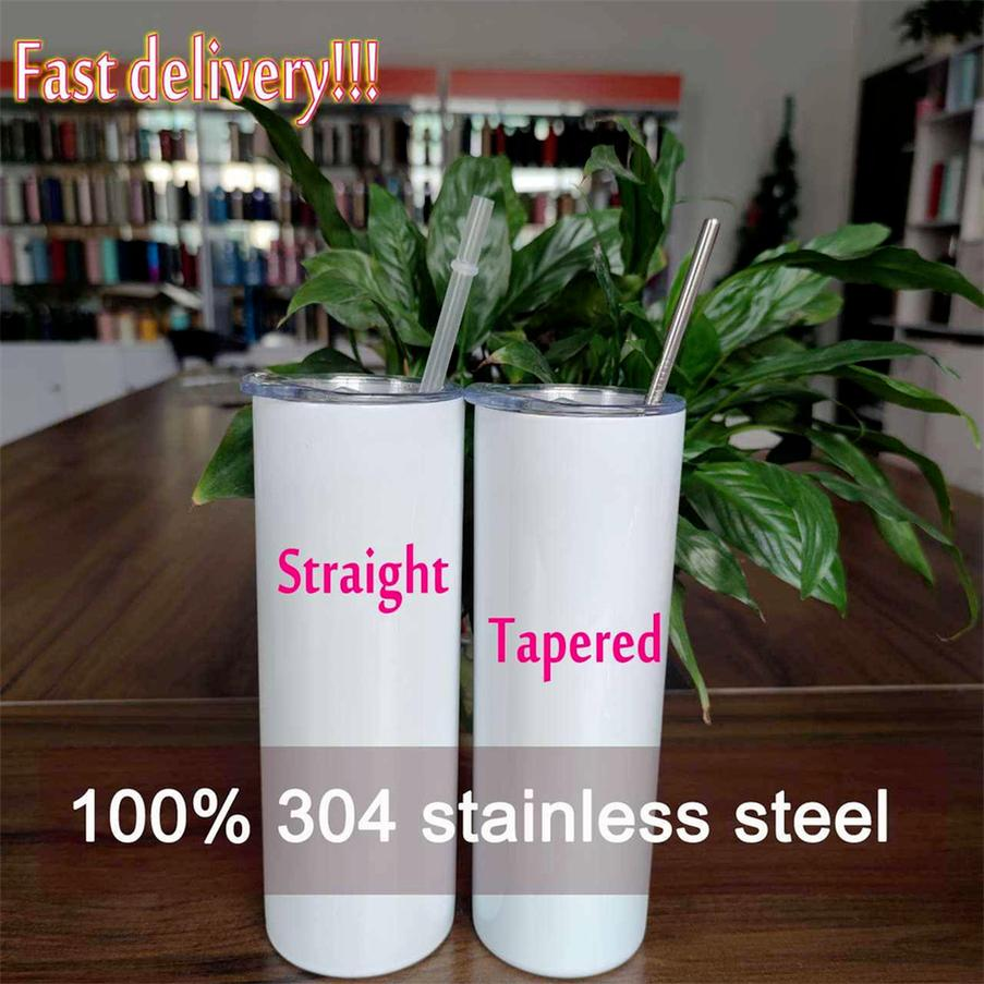 DHL!! Factory Direct Sale 20oz Sublimation Tumblers Blanks 304 Stainless Steel Tapered Straight Tumblers Cups Water Bottles Coffee Mugs