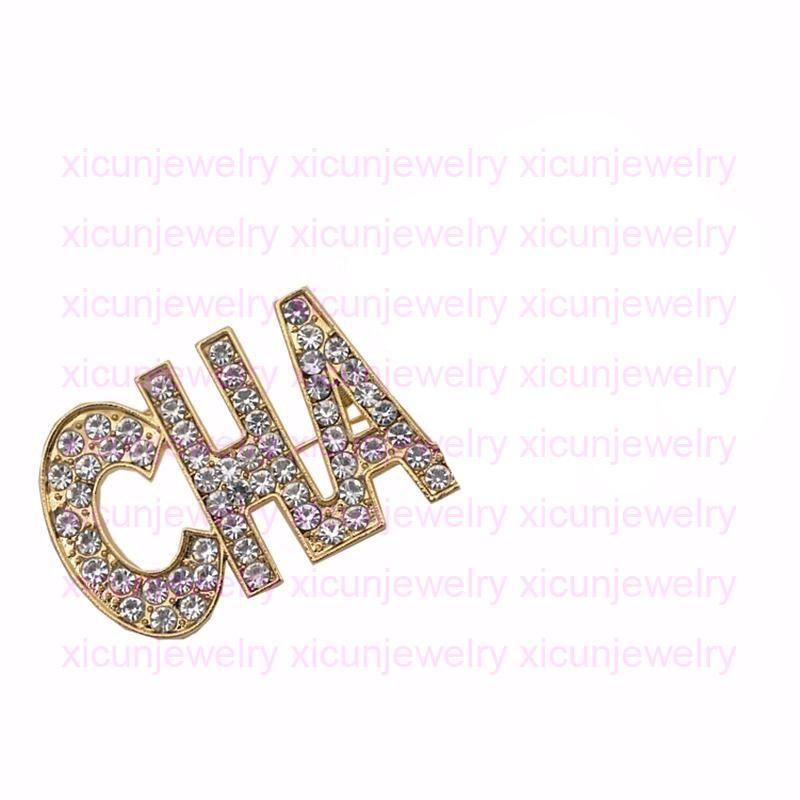 قناة سحر مصمم إلكتروني دبابيس أزياء الذهب الماس بروش المرأة كريستال دبابيس الملابس دبوس مجوهرات مفتوحة كما ج