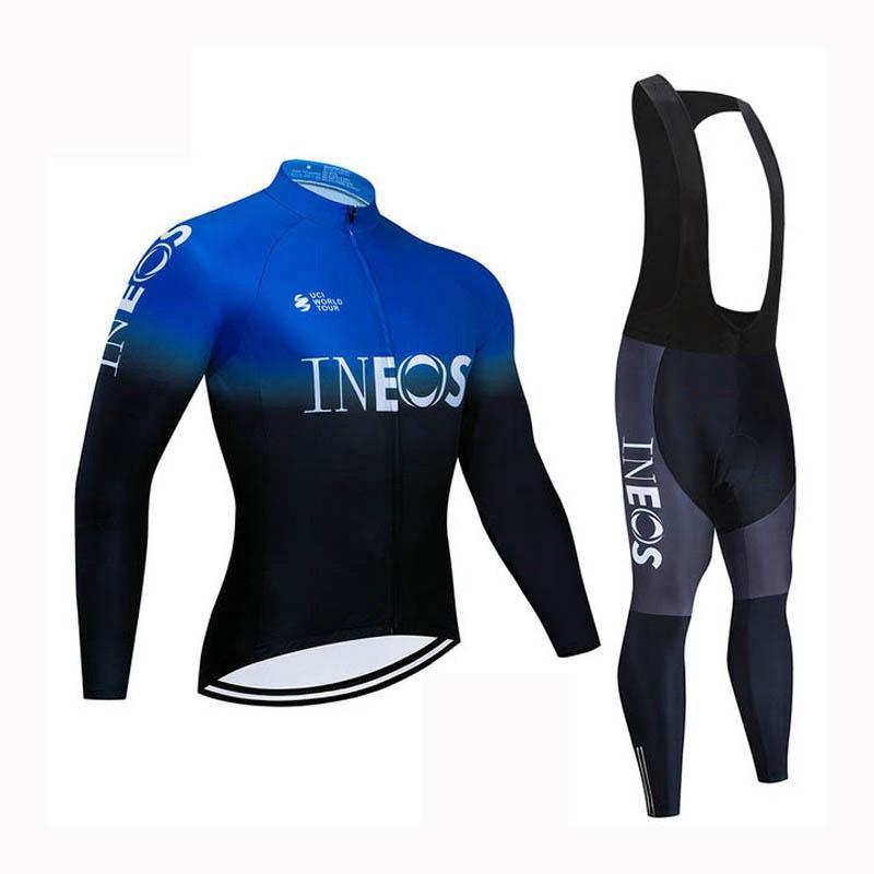 Мужчины Осень Весна INEOS Team Велоспорт Джерси набор Тур де Франс с длинным рукавом MTB Велосипедная одежда Дорожные велосипедные наряды Cycle Sportswear Y21031226