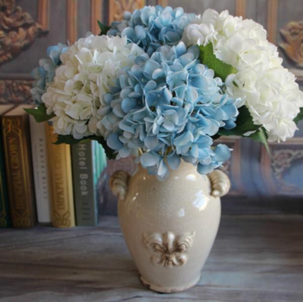 장식 꽃 파티 용품 인공 수국 헤드 47cm 가짜 실크 단일 진짜 터치 다른 색상 결혼식 센터 피스 홈 장식 RH01318