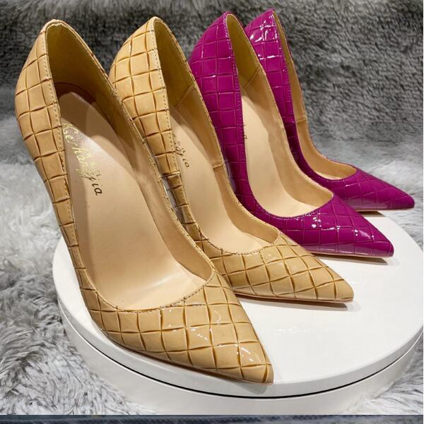 Grande tamanho EU34-45 com logotipo moda designer de luxo mulheres sapatos de salto alto 8cm 10 cm 12 cm preto sola vermelho sola couro apontado toes bombas vestido sapatos