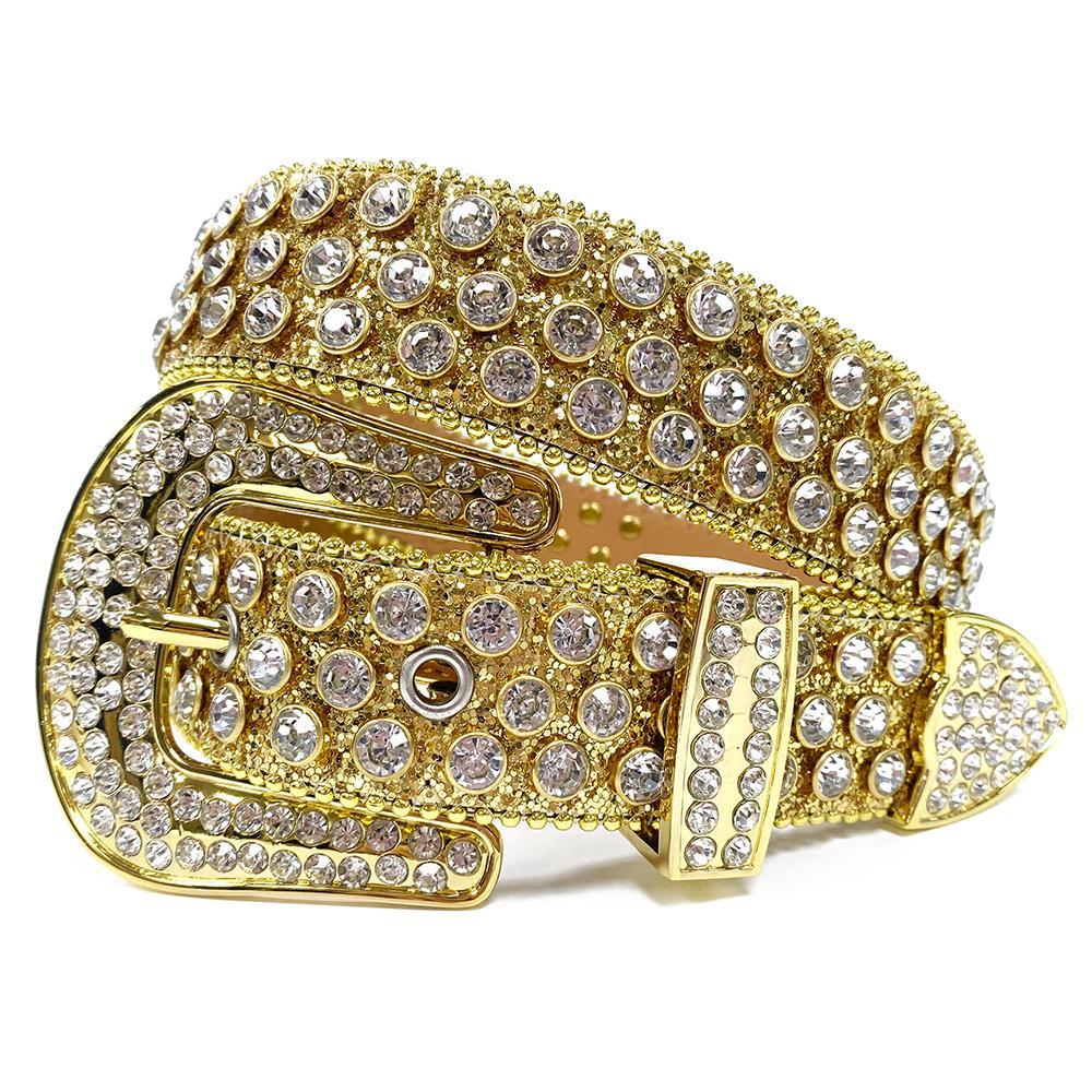 새로운 서쪽 모조 다이아몬드 벨트 이동식 버클 카우보이 럭셔리 블링 블링 크리스탈 크리스탈 남성 여성을위한 벨트