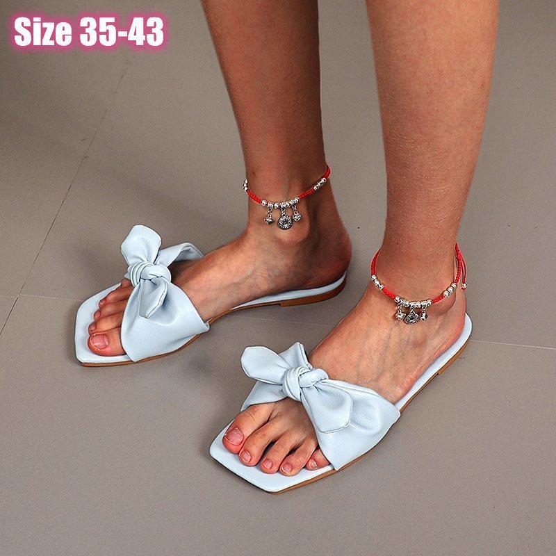 Zapatillas para mujeres para 2021 verano mujer plana zapatilla moda arco abierto punta sandalia vestido sexy zapatos flip flops designer diapositivas