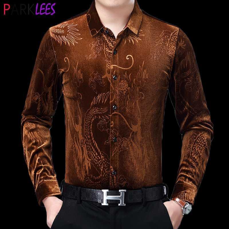 Мужские повседневные рубашки роскошный китайский дракон жаккардовый бархатная рубашка 2021 осень тонкий фигур со свинцовым платьем мужская теплая удобная семья
