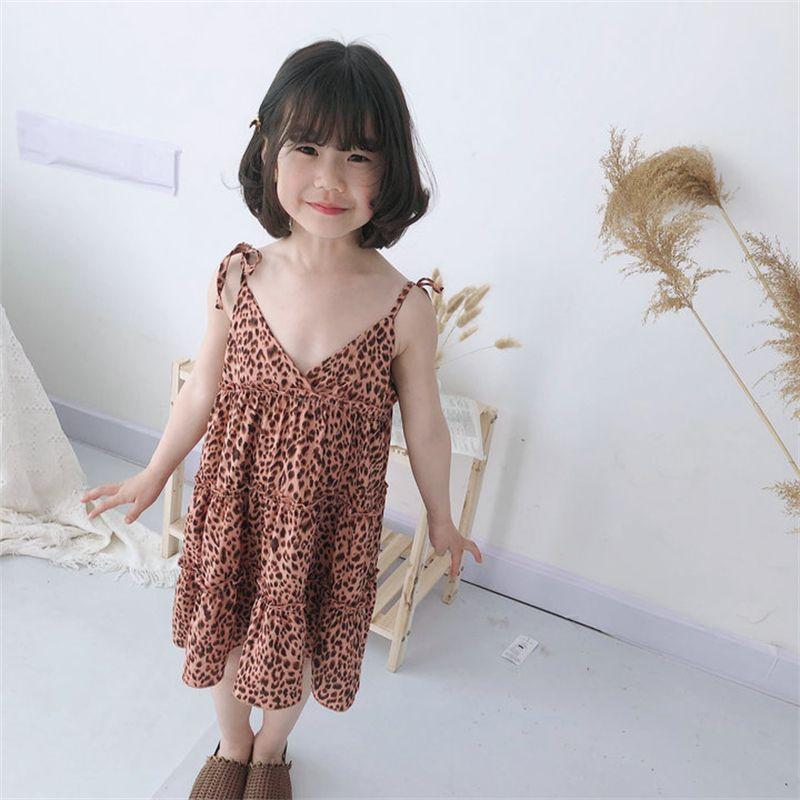 فتاة اللباس الاطفال ملابس الطفل 2022 ليوبارد الربيع الصيف طفل أبلى مدرسة شاطئ حزب موحدة فساتين القطن الأطفال القماش