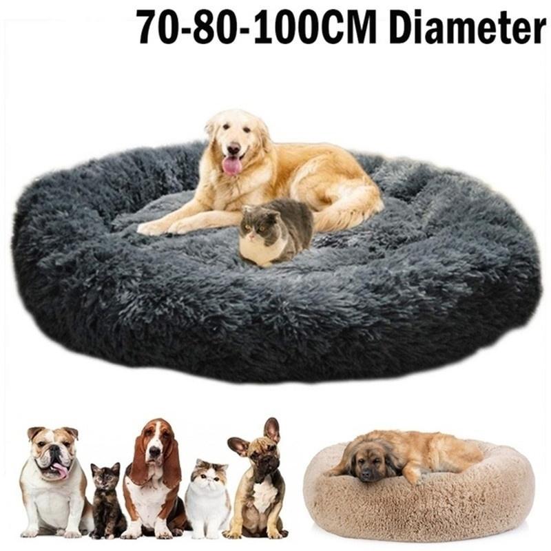 Rodada camas de cão de pelúcia longa para grandes cães animais de estimação almofada super macio macio macio confortável esteira de gato suprimentos acessórios 20125