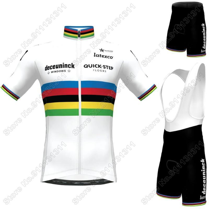 Dünya 2021 Hızlı Adım Bisiklet Giyim Julian Alaphilippe Bisiklet Jersey Seti Yol Bisikleti Takım Elbise BIB Şort Maillot Bisiklet
