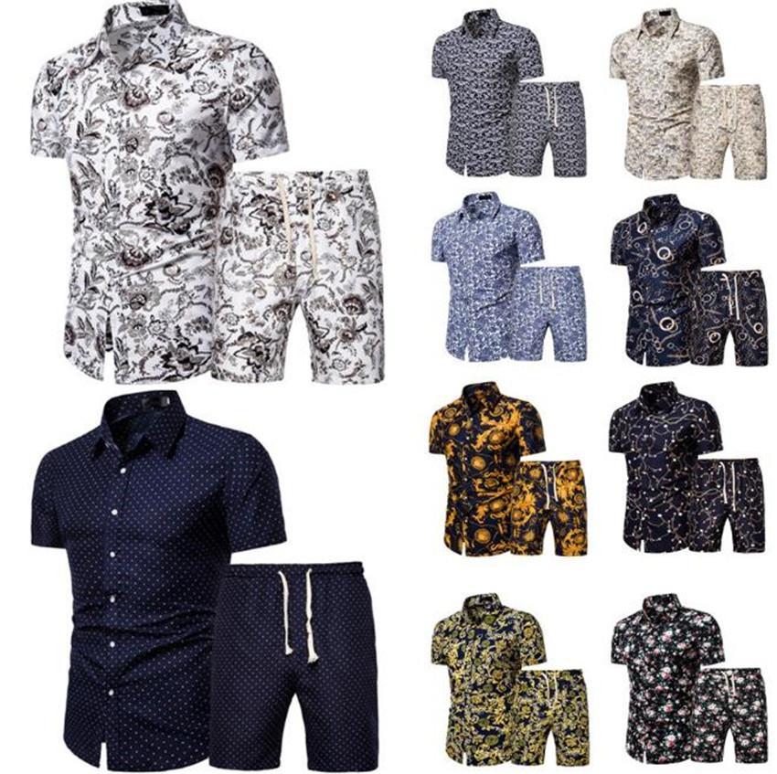 الصيف شاطئ رجل قطعتين مجموعات قصيرة الأكمام قمصان مطبوعة السراويل الرجال رياضية عارضة التلبيب الرقبة أوم 2PCS الدعاوى
