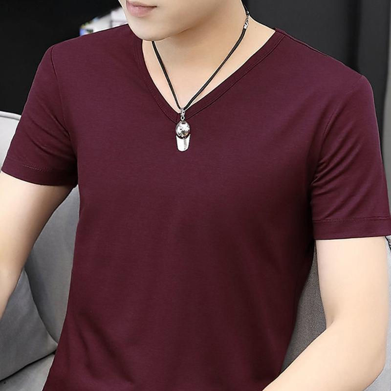 Men's T-Shirts Short-sleeved T-shirt V-neck Thin White Summer Student Slim Solid Color Bottoming Shirt Tight
