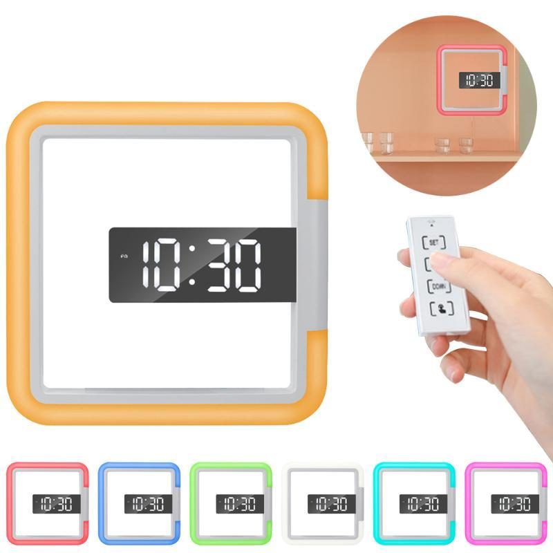 Duvar Saatleri Ev Dijital Saat Sıcaklık Uzaktan Kumanda Ayna Yüzey Ile LED RGB Yüzey Snooze Karartma USB Dağı