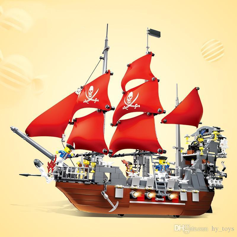 1123 Гранулы, Высококачественный материал защиты окружающей среды, Пиратский корабль BlackBeard Сборочные строительные блоки, Сборка Строительные блок Игрушки