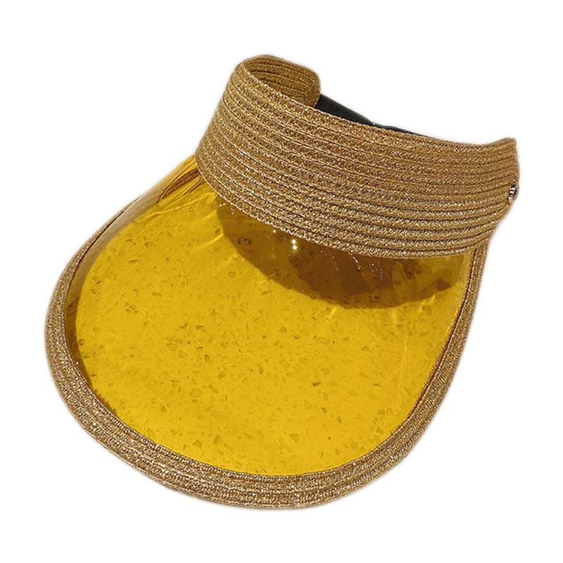 Ampla Brim bonés Moda Vazio Dome Sun Visor-chapéu Grande Buffle Patchwork Capas Bonés Elásticos Banda Transparente Candy Color Placa Visor