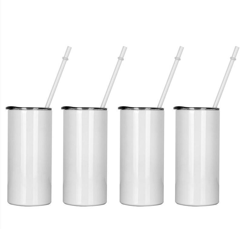 Sublimation Skinny Tumbler 15oz Hohe dünne Kegel-Tumbler Weißes leeres vakuumisoliertes Wasserbecher für Wärmeübertragung SES Versand WWA155