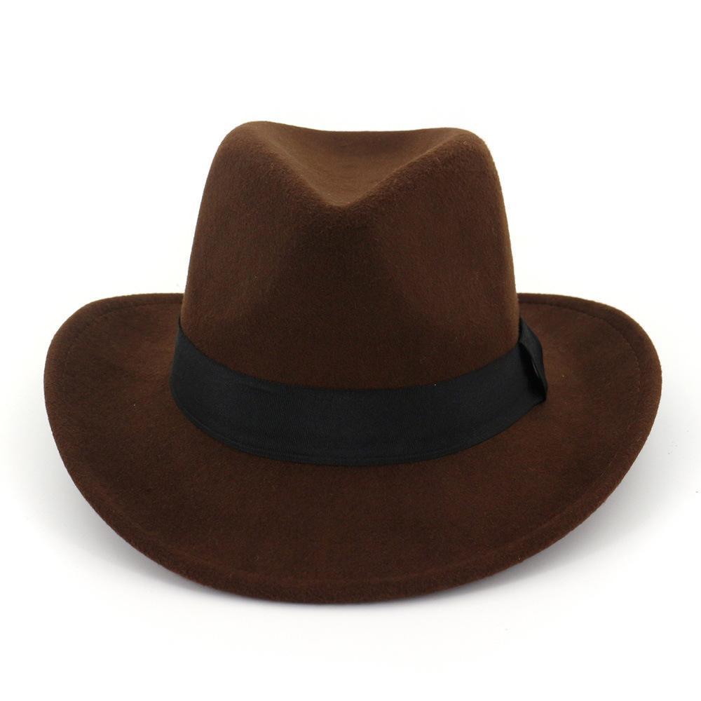 2021 Moda İlkbahar ve Sonbahar Erkek ve Bayan Moda Caz Şapka Kış Açık Rahat Yün İngiliz Tarzı Üst Şapka Flanş Yün Şapka