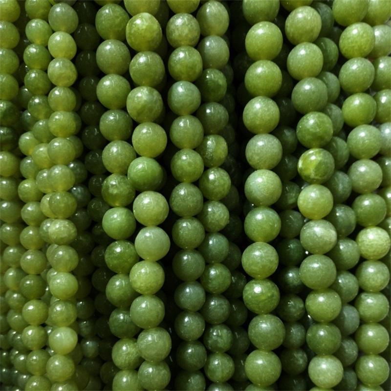 4/6/8/10 / 12mm Runde Natürliche Südjade Steinperlen DIY Lose Grün Jade Perlen Für Schmuckherstellung Armband Strang 15 '' 111 q2