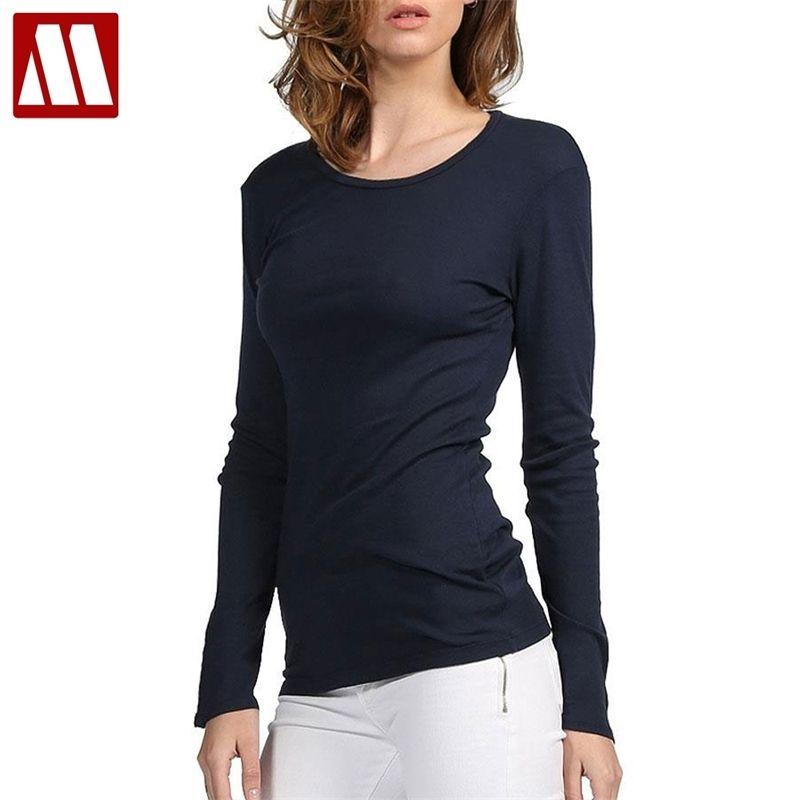 Mydbsh 브랜드 면화 여성 스트레치 티셔츠 셔츠 탑 티셔츠 티셔츠 캐주얼 솔리드 티셔츠 유럽 및 미국 스타일 210309