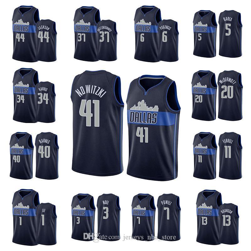 Erkekler Takım Basketbol Formaları Powell 3 Noel 1 Lee 11Ferrell 40 Barnes 41 Nowitzkl 5 Birea 44 Jackson 6 Porzingis 34Harris Retro kaliteli S