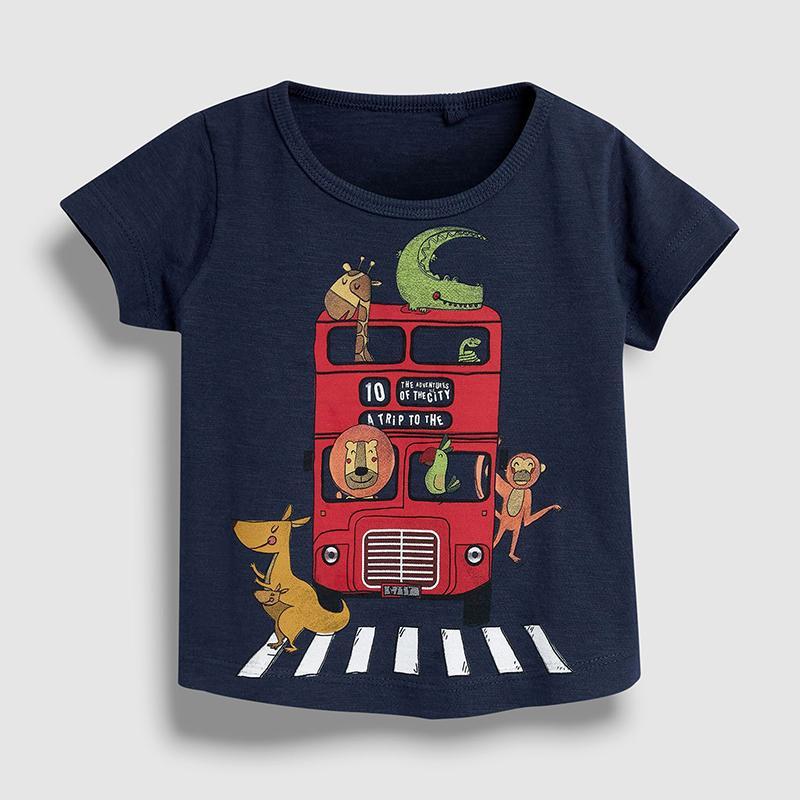 Little Maven New Summer Kids Kleidung Kurzer Oansatz 5 Farben Tiere Doppelbus Gestrickte Cartoon Baumwolle Qualität Jungen Casual Tshirt J0220