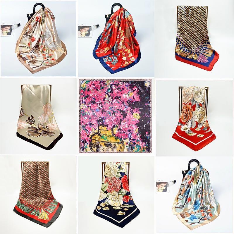 Шарфы 2021 Керчьи Шелковый сатин Шарф для женщин Печать Hijab Scarfs Женский 90 * 90см Квадратные шали и обертывают леди