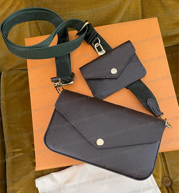 3 piezas de cuero de primera calidad hombres Falicie Strap Tote Crossbody Bolsos Diseñador de lujo Mujer Moda Fashion Car Wallet Cajas Tarjetas Bolsos Bolso Bolso
