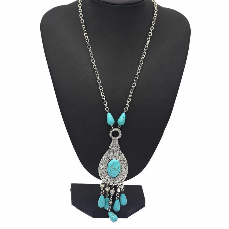 Collana Turquoise Retro Modelli intagliati Collana di Goccia Catena Maglione Catena di coda di pavone modello Collana luna