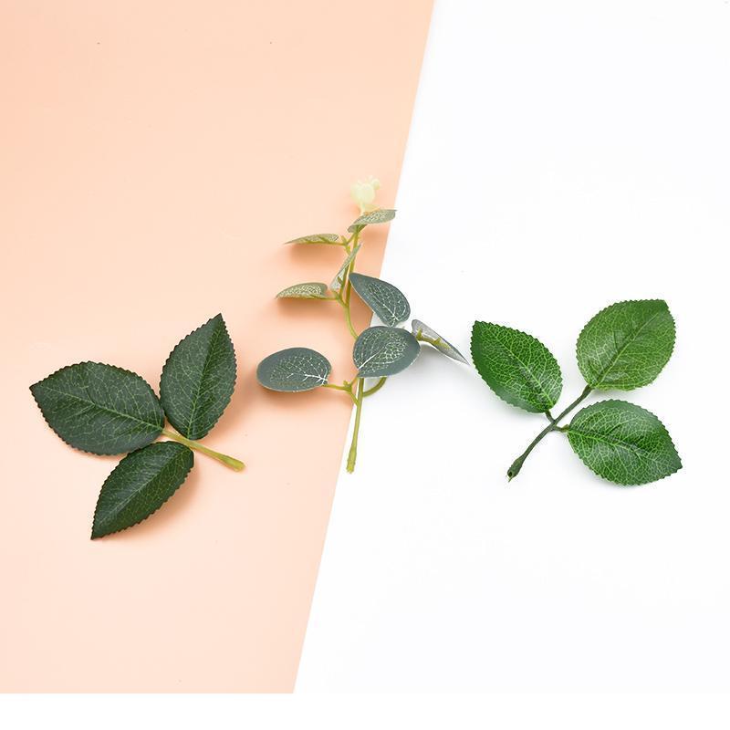 10pcs Artificial Flowers For Christmas Decor Home Wedding Fake Plants Scrapbook Wreaths Silk Leaf Bride Holding Flowers jllPUc