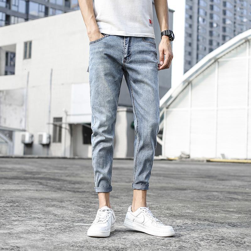 Progettare nuovi piccoli piedi, moda coreana, jeans da uomo, trendy elastico capris