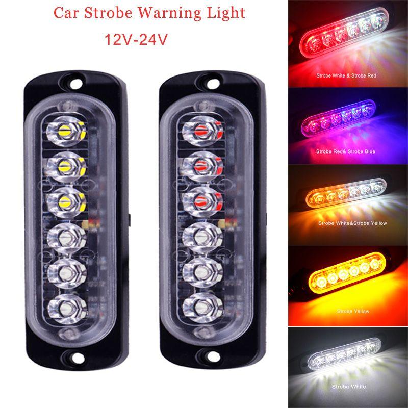 Strobe Warnlampe 12-24 V 6LED Trucks Ambulanz Lampe Ultradünnes Auto LED Seitenmarkierer Lichter Polizei Flash Notlicht