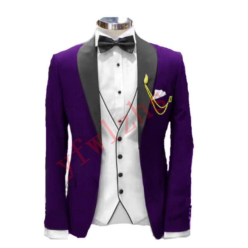 Classic One Button Handsome Groomsmen Shawl Lapel Groom Tuxedos Men Suits Wedding/Prom Best Man Blazer ( Jacket+Pants+Vest+Tie) W769