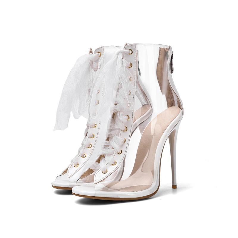 Сандалии плюс размер персонализированные прозрачные кружева высокие каблуки женские туфли женщины летние дамы