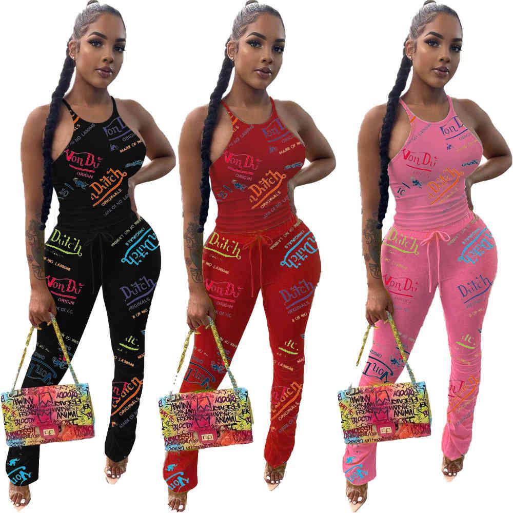 Echoine Frauen Sommer Sexy Brief Druck Sleeveless Weste Fitness Hose Casual Trainingsanzug 2 Zwei Teile Set Lady Outfits Sets