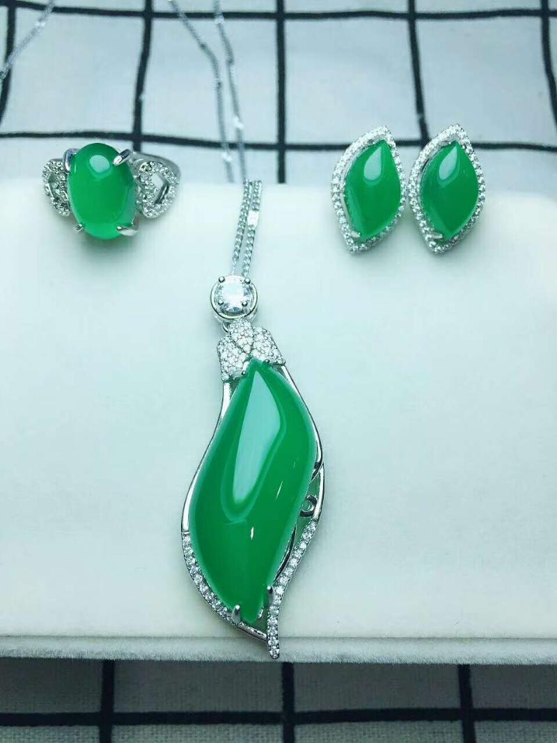Bracelet, Earrings & Necklace C8#925 Silver Inlaid Natural Chalcedony Set, The Jade Face Is Clean And Translucent