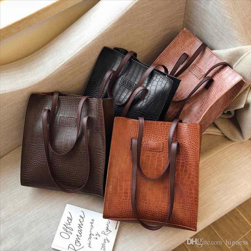 Wholesale femmes Sac à main en cuir femme sacs à main mode crocodile motif sacs à main femmes sacs de concepteur gros sac fourre-tout pour femmes 2020