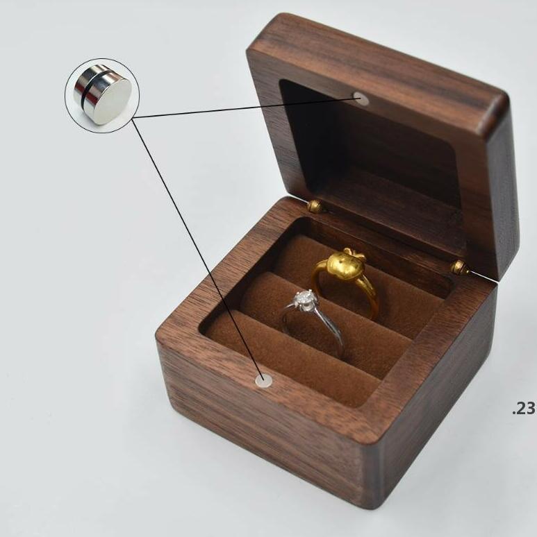 Schmuckschatulle Kreative Holz Ring Ohrring Box Anhänger Schmuck Aufbewahrungsbox Schwarz Walnut Ohrring Case Massivholz Boxen Meeresschiff FWB5048