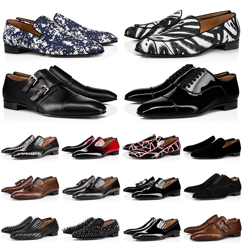 【code:OCTEU03】red bottoms Zapatos de vestir de diseñador para hombre de lujo Bottoms rojos Zapatos casuales Punta redonda Zapatillas sin cordones Spikes planas 38-47